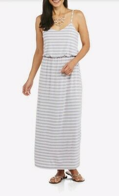 Faded Glory Womens Maxi Dress sz XL (16-18) Heather Gray Striped - Dress Heather