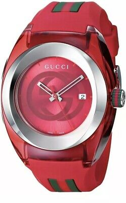 New Gucci YA137103 Sync XXL Red Rubber Red Dial Unisex Watch