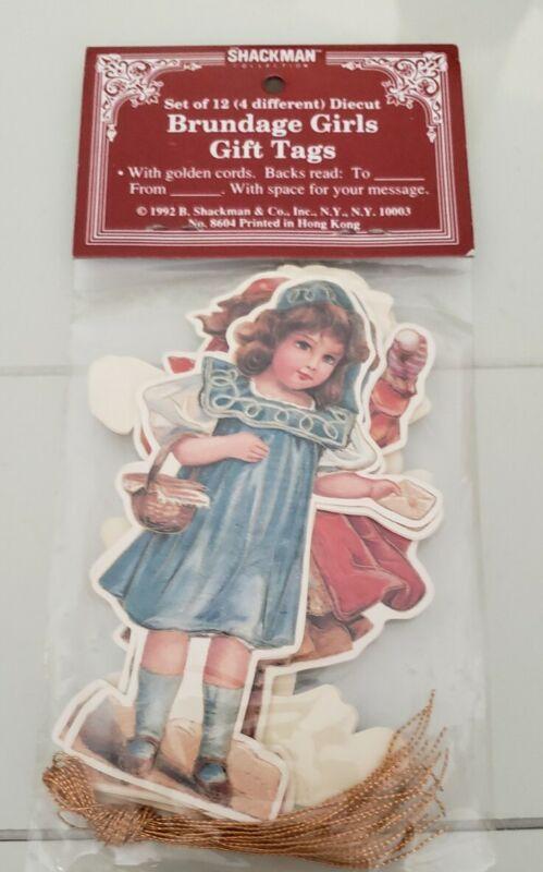 VINTAGE Brundage Girl GIFT TAG NOTE CARDS (Pack of 12) B. Shackman