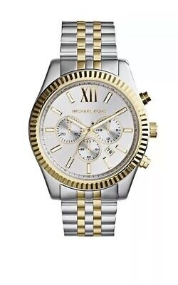 New Michael Kors MK8344 Lexington Silver and Gold-Tone Chronograph Men's Watch