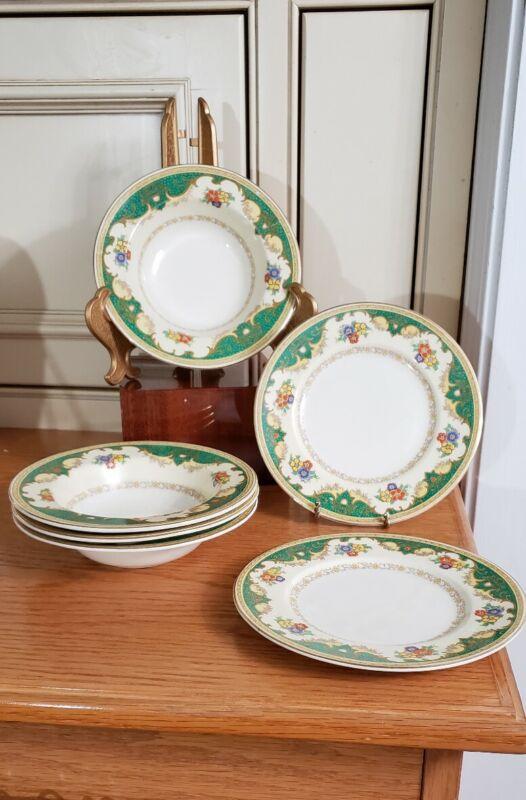 RARE PATTERN #2486~VINTAGE MYOTT  STAFFORDSHIRE  ENGLAND~2 BREAD PLATES &4 BOWLS