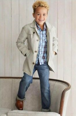 Trench Coat Boys (New Appaman AWESOME Boys Stone Towne Trench Coat 12 MUST HAVE Lined Jacket)