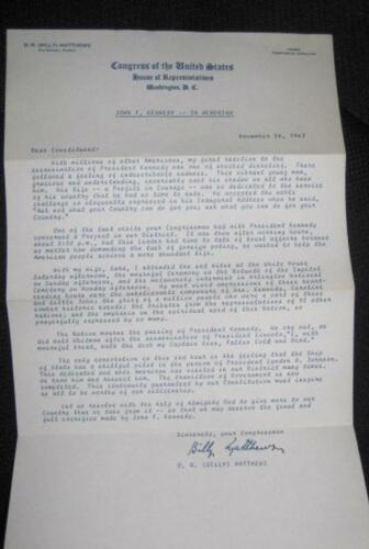 ORIGINAL LETTER FROM US CONGRESSMAN ON DEATH OF JFK KENNEDY