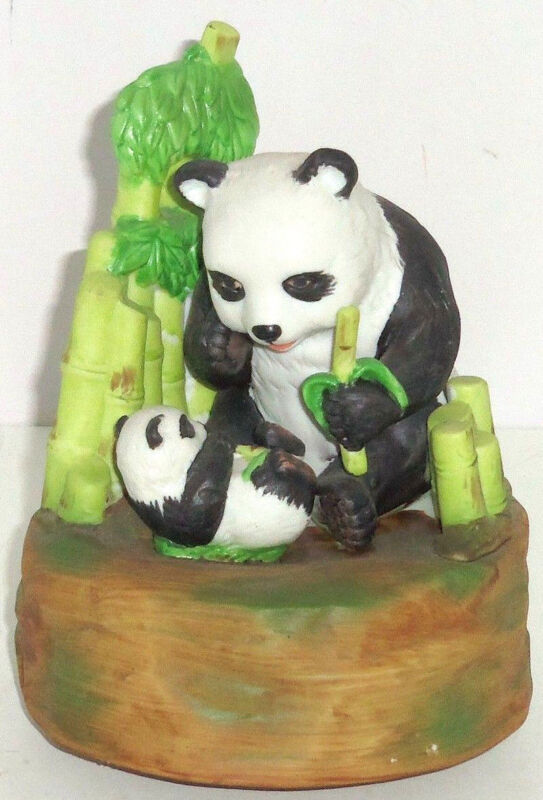 Panda Bear Baby Music Box Turns Plays Eating Wildlife