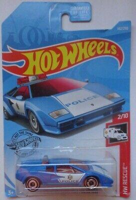 2019 Hot Wheels HW RESCUE 2/10 Lamborghini Countach Police Car 142/250 (Blue)