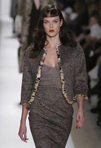 TULEH Lace Jacket w/Leopard Print Fur Lining - Sz S - Mint