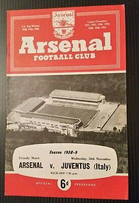 Arsenal v Juventus Friendly Programme 26/11/58