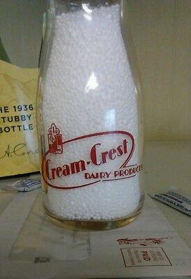 Cream-Crest red pyro half pint Massachusetts milk bottle