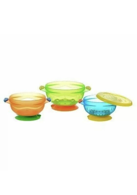Munchkin Stay Put Suction Bowls With Lids- Set of 3