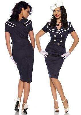 Sexy Pin-Up Vintage Kleid mit Matrosen-Kragen Rockabilly Kostüm wie 50er Jahre