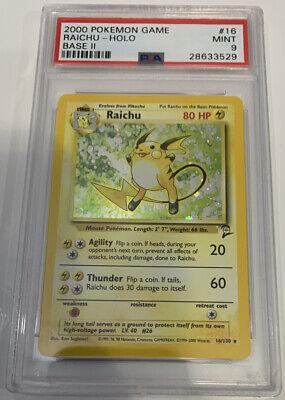 PSA 9 MINT RAICHU HOLO Pokemon Base Set 2 16/130