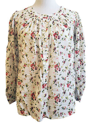 Anthropologie EZE SUR MER S White Floral Button Top Blouse Pleated Puff Sleeve S
