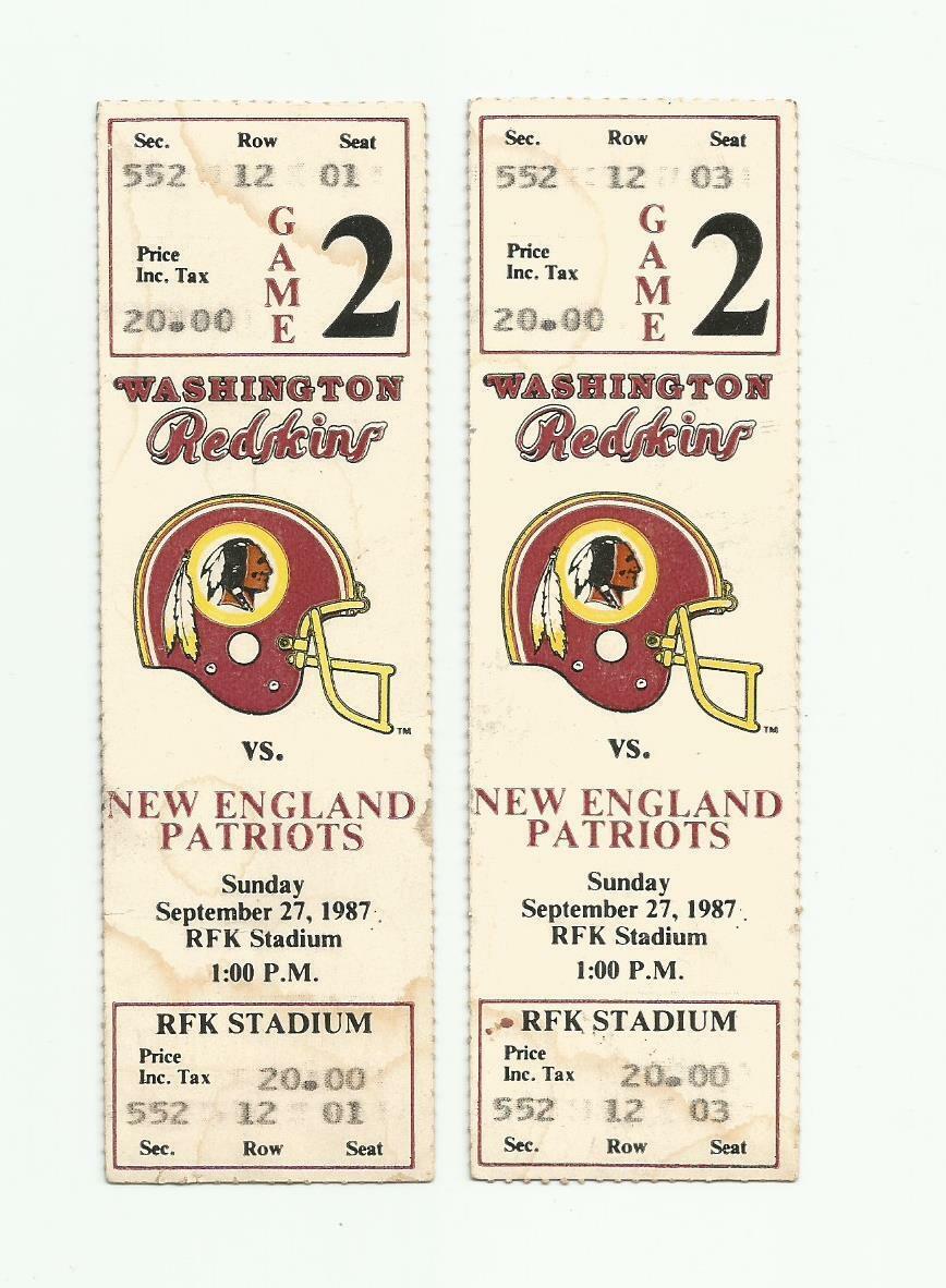 2 1987 New England Patriots at Washington Redskins Tickets - Skins Won S. Bowl!