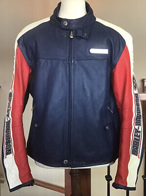 HARLEY DAVIDSON Men's Size 2XL Rapid City Blue Colorblocked Leather Jacket