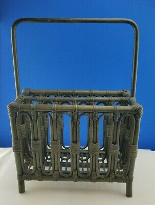 Scarce Green Stained Bamboo Rattan Wicker Magazine Book Rack iPad Laptop Storage