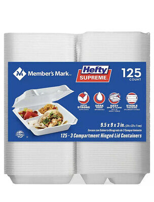 Members Mark 3 Compartment Hinged Lid To Go Boxes 125 ct. 🔥FREE SHIPPING -