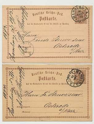 D.Reich Ganzsache P 1 per 2 Stück HUFEISENSTEMPEL HAMBURG (88596)