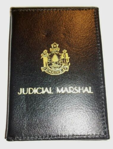 NEW / NOS Bifold Textured Black Leather Wallet ID BADGE HOLDER JUDICIAL MARSHAL