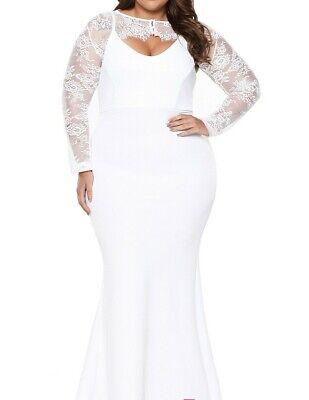 Plus Size White Mermaid Wedding Gown Dress XXL XXXL