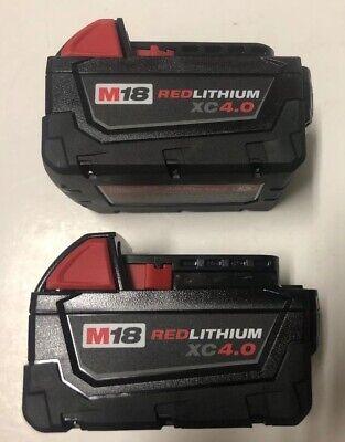 (2) NEW MILWAUKEE 48-11-1840 M18 18V 18 Volt Red Lithium XC 4.0 Ah Battery