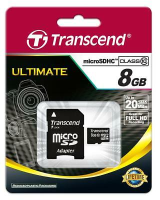 133x Speed Sd Memory Card - Transcend microSDHC 8GB Class10 Ultra Speed 133x with SD Adapter