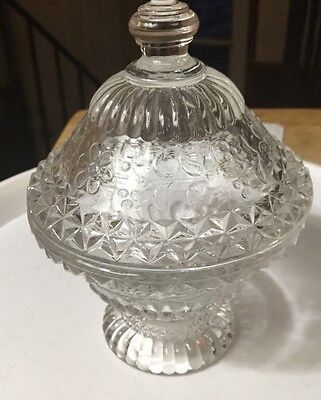 "Glass Candy Dish With Lid 5"" Tall"