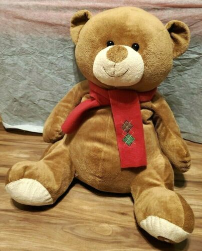 """TOYS-R-US RETIRED LARGE PLUSH BROWN TEDDY BEAR / RED SCARF - 24"""" TALL"""