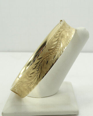 "Elegant 14K Yellow Gold Diamond Cut Textured Hinge 8"" Bangle Bracelet A2130"