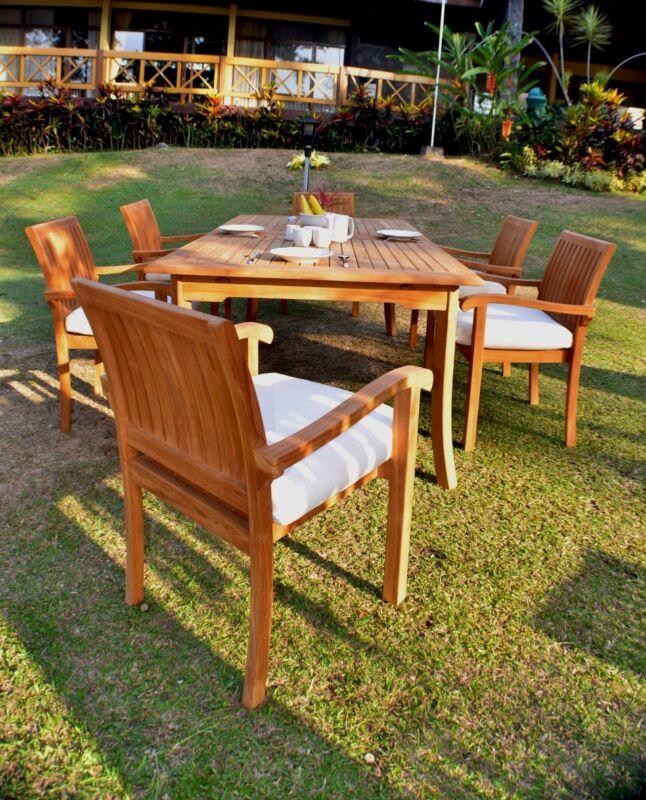 "7 Pc Dining Teak Set Garden Outdoor Patio Furniture Napa Stacking 117"" Rect Tbl"