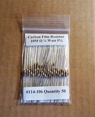 10m Ohm 14 Watt  5 Carbon Film Resistors 50pcs New Stock Usa Seller