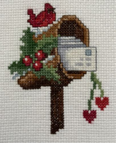 Finished Counted Cross Stitch for Christmas Greeting Card