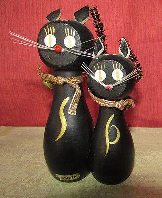 Vintage MAGNETIC Salt & Pepper Shakers Black Cats Set of 2 Orig Stoppers & Bells