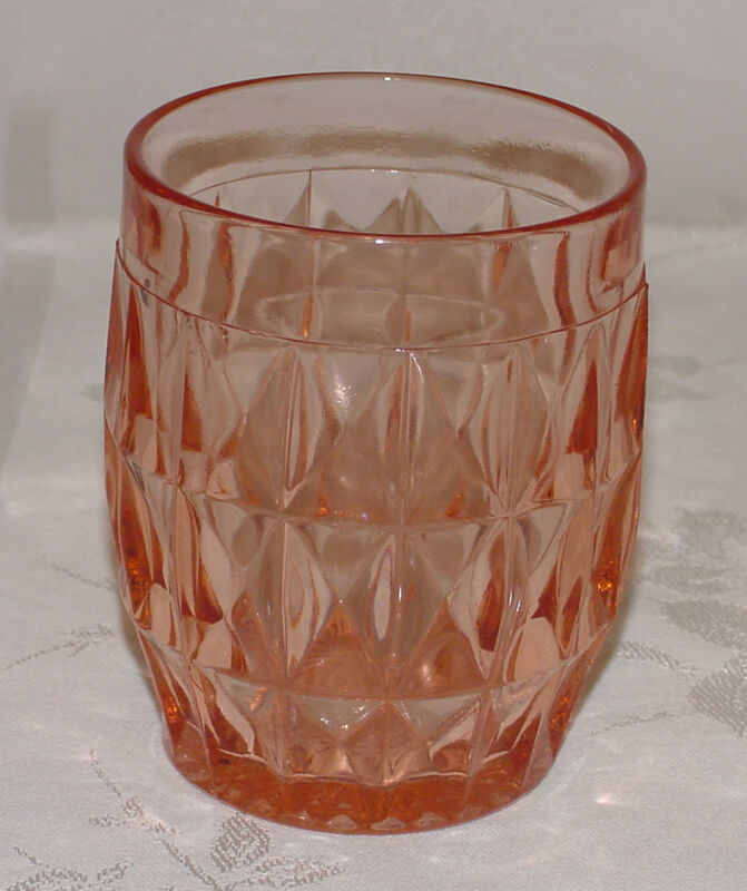 "PERFECT Vintage Pink Jeannette ""WINDSOR DIAMOND"" Water Tumbler - X3!"