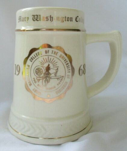 LARGE MARY WASHINGTON COLLEGE 1968 BEER STEIN MUG