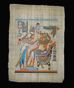 Egyptian-Papyrus-genuine-hand-painted-Nefertiti-offering-to-King-Tut-43x33cm