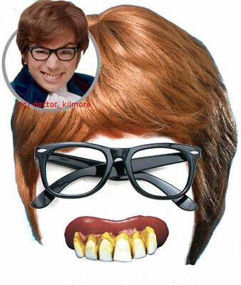 Austin Powers Fancy Dress 3 piece Costume Kit - Brown Wig, Glasses + Bad Teeth](Austin Powers Wig)