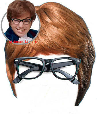 Austin Powers Fancy Dress Costume 2 piece Kit - Brown Wig and Black Glasses - Austin Powers Wig