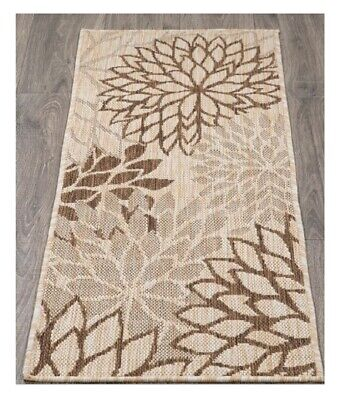 Throw Rug Contemporary Floral Beige Accent Indoor Hall Runner Mat Kitchen Carpet Floral Contemporary Rug