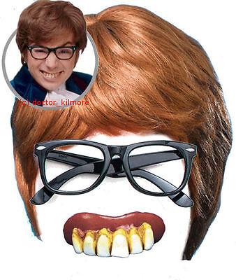 Austin Powers Fancy Dress 3 piece Kit - Brown Wig, Black Glasses + Bad Teeth](Austin Powers Wig)