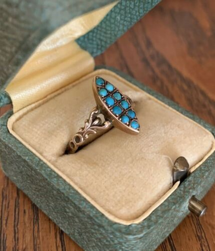 Art Nouveau TURQUOISE 9k Gold Ring Navette Dainty Band Scrolled Shoulders Lovely