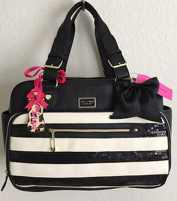 BETSEY JOHNSON DIAPER BAG BE MINE STRIPED BLACK SEQUIN WEEKENDER BABY TOTE NWT