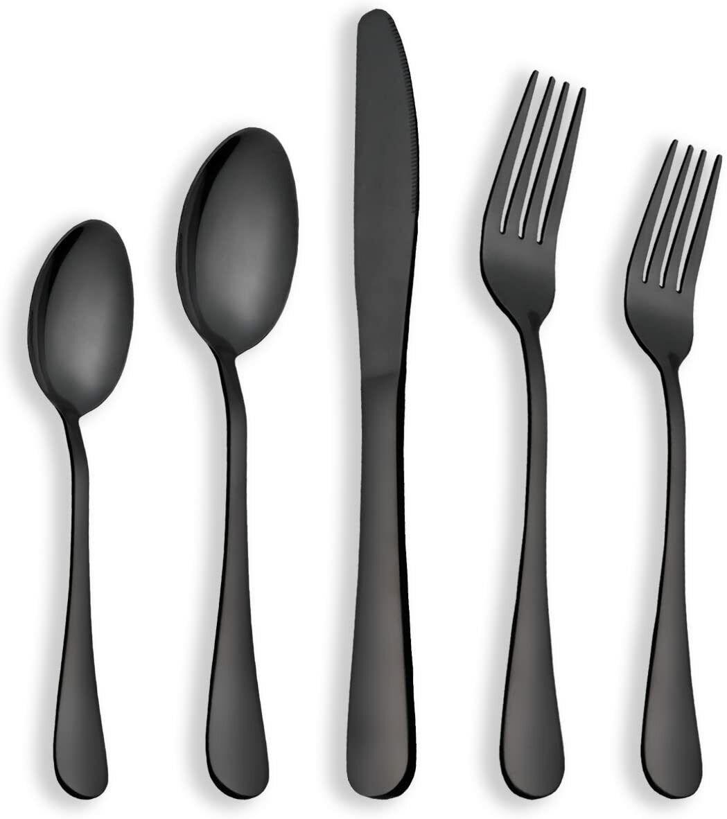 30 x Posate in acciaio inox Nero lucido, Set per servizio da 6, Con cucchiaino