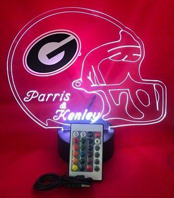 University of Georgia Bulldogs NCAA Football Light Up Lamp LED Personalized -