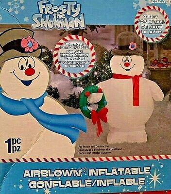 NEW 3.5 FT TALL FROSTY THE SNOWMAN CHRISTMAS WREATH RANKIN BASS INFLATABLE GEMMY