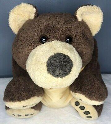 Woolrich Kids Brown Grizzly Bear Microbead Plush Laying Stuffed Animal Pillow