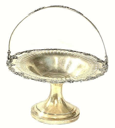 Antique Sheffield Silver Floral Repousse Bridal Footed Basket with Swing Handle