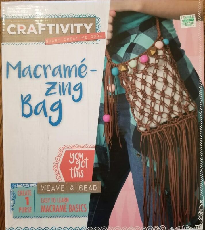 Craftivity Macrame - Zing Bag Kit - Weave & Bead Sealed and Unused Easy to Learn