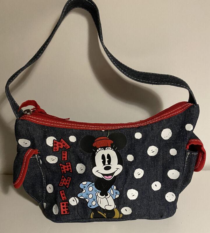 Minnie Mouse Girls Denim Blue Purse Sparkle Gems Glitter EUC By Disney
