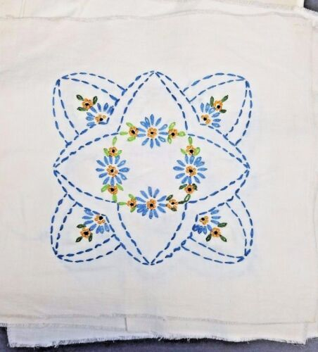 16 Embroidered Quilt Blocks Marigold Variegated Blues Greens Vintage Cotton