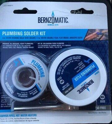 Bernzomatic Plumbing Solder Kit. 4oz Silver Bearing Wire Flux Brush Cloth
